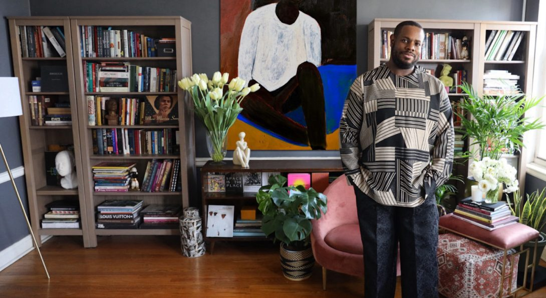 DANNY DUNSON IN HIS CHICAGO HOME FEATURING THE ART OF PATRICK EUGENE,